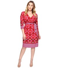 Adrianna Papell Plus Size 3 4 Sleeve V Neck Wrap Dress Pink Multi Women's Dress