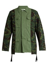 Off White Panelled Cotton Canvas Field Jacket Green Multi