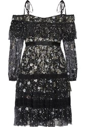 Needle And Thread Supernova Off The Shoulder Ruffled Embellished Tulle Mini Dress Black