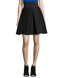Milly High Waisted Pleated A Line Bubble Skirt Black