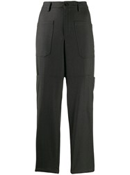 Closed Tapered Cropped Trousers Grey