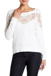 Pam And Gela Annie Hi Lo Lace Inset Sweatshirt White