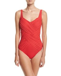 Gottex Lattice Shaped Square Neck One Piece Swimsuit Red
