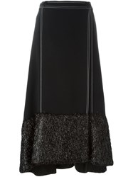 Marco De Vincenzo Contrast Hem Flared Skirt Black