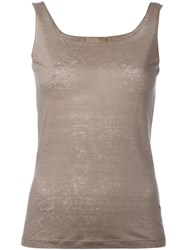 Cruciani Square Neck Top Nude Neutrals