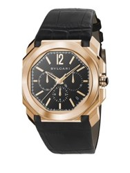 Bulgari Octo 18K Pink Gold And Alligator Strap Watch Black Rose Gold