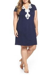 Eliza J Plus Size Women's Embroidered Ponte Sheath Dress Navy