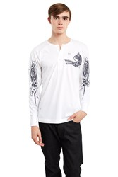 Saam1 Mongolian Horse And Rose Henley Shirt White
