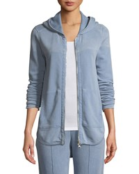 Atm Anthony Thomas Melillo Croma Wash Zip Front French Terry Hoodie Sweatshirt Blue