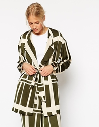 Asos Relaxed Blazer In Graphic Print Co Ord Khakiprint