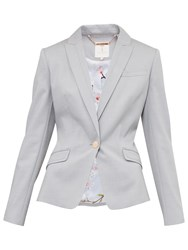 Ted Baker Radiia Topstitch Detail Blazer Light Grey