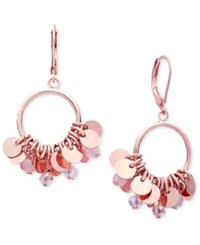 Lonna And Lilly Shaky Disc Crystal Drop Hoop Earrings Pink
