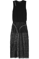 Jay Ahr Zip Detailed Wool And Lace Maxi Dress