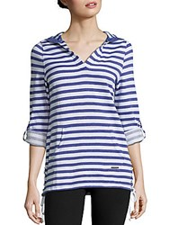 Marc New York Performance Plus Size V Neck Long Sleeve Striped Hoodie Blue White Combo