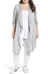 Three Dots Plus Size Women's Drape Front Sheer Cardigan
