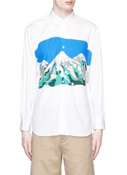 Comme Des Garcons Mount Fuji Cutout Print Shirt White Multi Colour