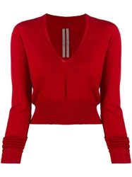 Rick Owens V Neck Sweatshirt Red
