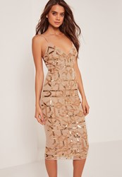 Missguided Premium Strappy Grid Embellished Midi Dress Gold