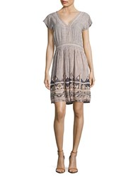 Vero Moda Patterned Fit And Flare Dress Peach