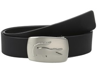 Lacoste Spw Leather Belt Metal Croc Buckle Plate Black Men's Belts
