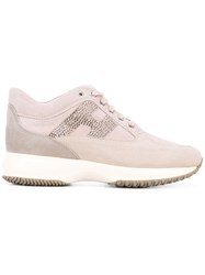 Hogan Lace Up Sneakers Women Cotton Chamois Leather Leather Rubber 36 Nude Neutrals