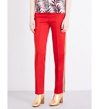 Sandro Striped Neoprene Trousers Red
