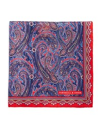 Turnbull And Asser Ornate Paisley Pocket Square Red