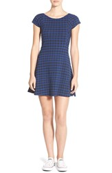 Element 'Isabel' Stretch Knit Plaid Dress Cobalt