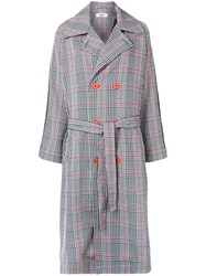 Marios Double Breasted Tartan Coat Grey
