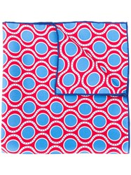 Kiton Printed Pocket Square Red