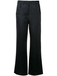 Christopher Esber Plain Flared Trousers Blue