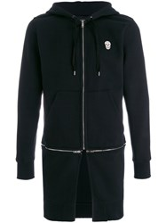 Alexander Mcqueen Double Zip Longline Hoodie Men Cotton Polyester M Black