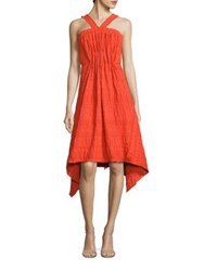 Josie Natori Pleated Eyelet Halter Dress Mandarin