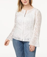 Inc International Concepts I.N.C. Plus Size Lace Illusion Jacket Created For Macy's Bright White