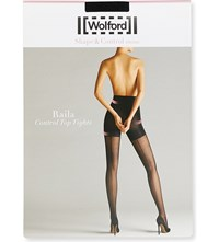 Wolford Raila Patterned Control Top Tights Black