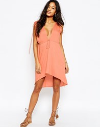 Asos Ruched Shoulder Beach Cover Up Peach Orange