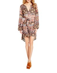 Jessica Simpson Embroidered Peasant Dress Brown