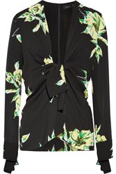 Proenza Schouler Knotted Floral Print Silk Crepe Blouse Black