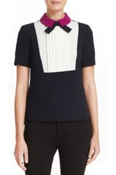 Ted Baker 'Lucaya' Pleat Front Bow Neck Top Blue