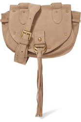 See By Chloe Collins Small Suede And Textured Leather Shoulder Bag Beige