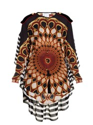 Givenchy Optical Peacock Print Georgette Blouse Multi