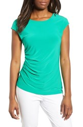 Chaus Zip Shoulder Stretch Jersey Top Gallery Green