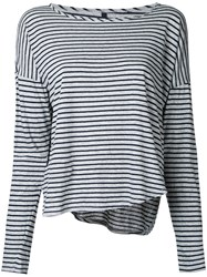 Nobody Denim Organic Crew L S Fine Stripe Tee Women Organic Cotton Xs Grey