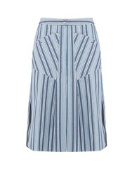 Isabel Marant Sphery Striped Cotton Skirt Blue Multi