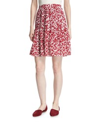 Oscar De La Renta Abstract Print Silk Skirt White Red White Red