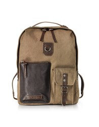 The Bridge Backpacks Carver D Canvas And Leather Backpack W Top Zip