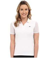 Lacoste Technical Short Sleeve Mesh Jacquard Collar Polo Shirt White Royal Blue Fluo Yellow Women's Short Sleeve Pullover