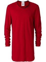 Lost And Found Rooms Longsleeved T Shirt Cotton Linen Flax Red