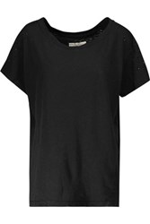 Current Elliott Embellished Distressed Linen And Cotton Blend Jersey T Shirt Black