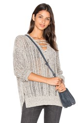 Michael Stars V Neck Lace Up Tunic Grey